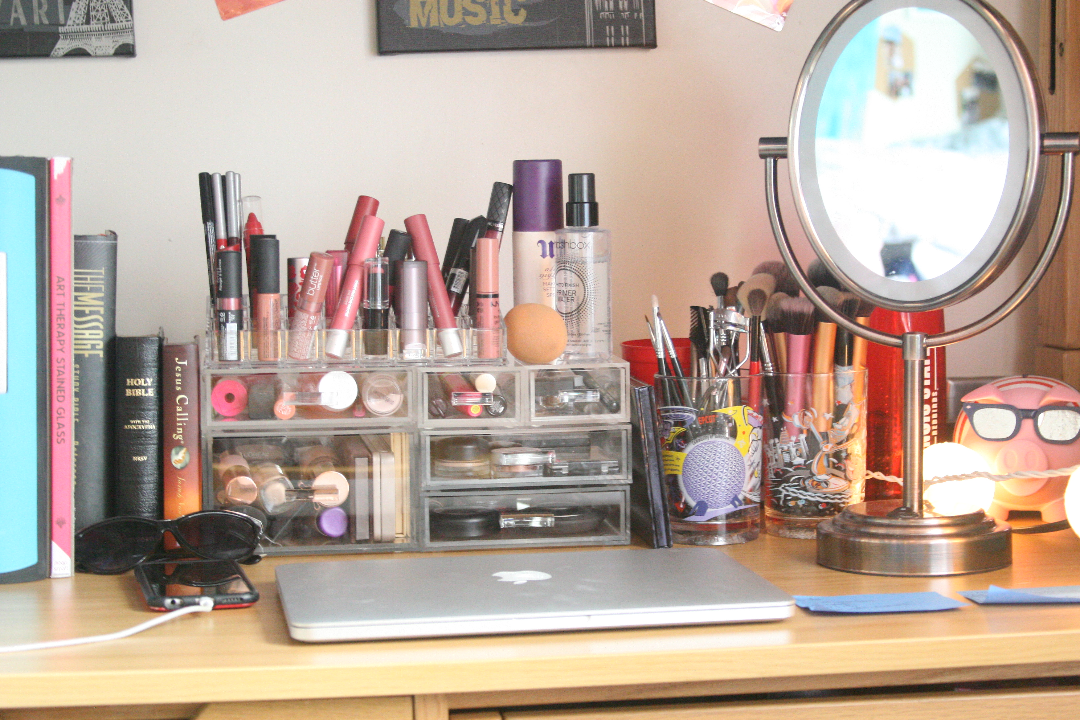 And Obviously The Most Important Part The Makeup Collection I Got These Acrylic Containers At The Container Store I Got To Customize My Own Little